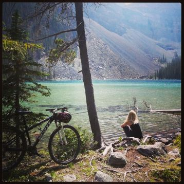 Riding around the lakes in Lake Louise, Canada