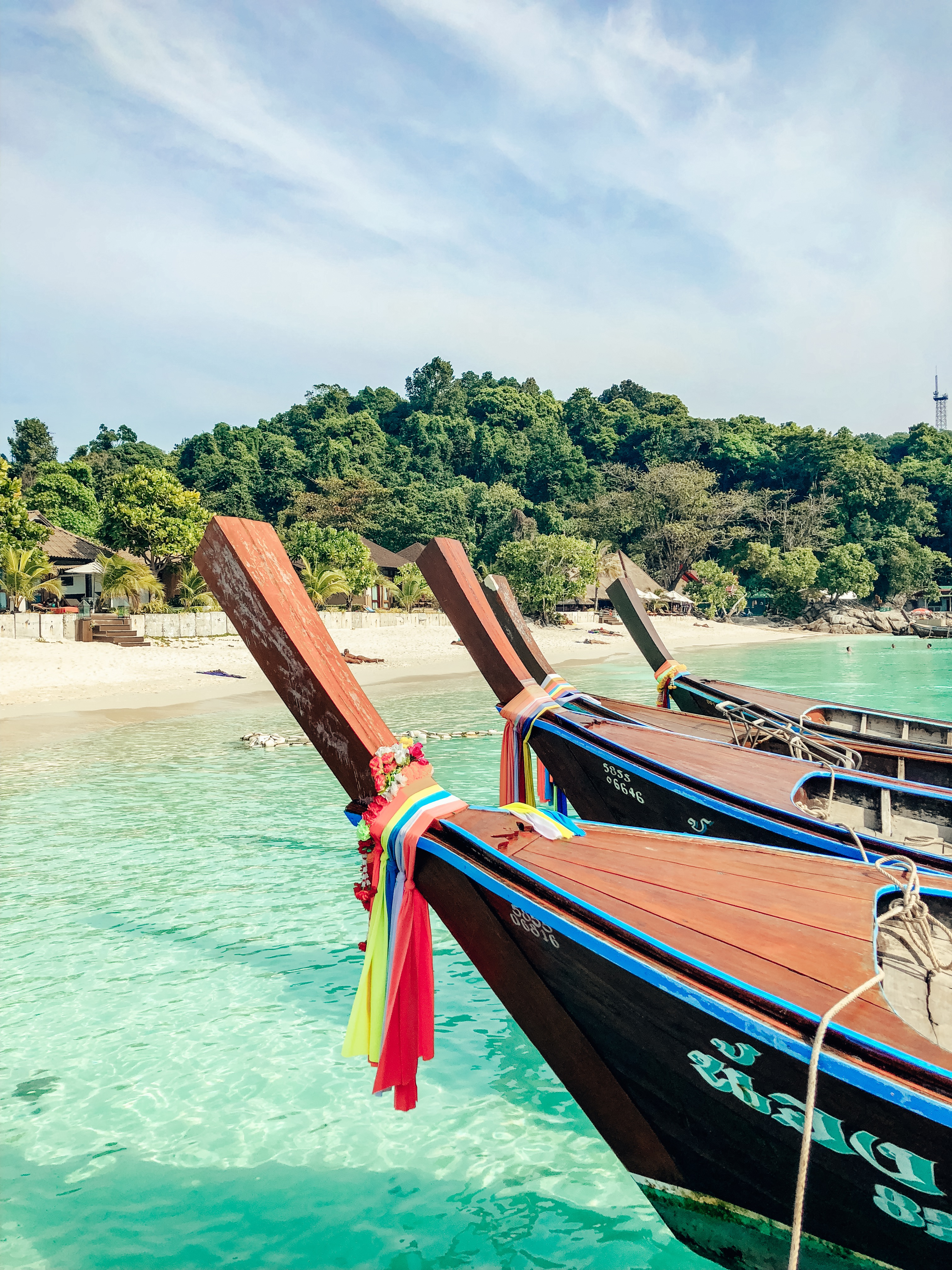Thai Long Tail Boats on Koh Lipe Island Thailand