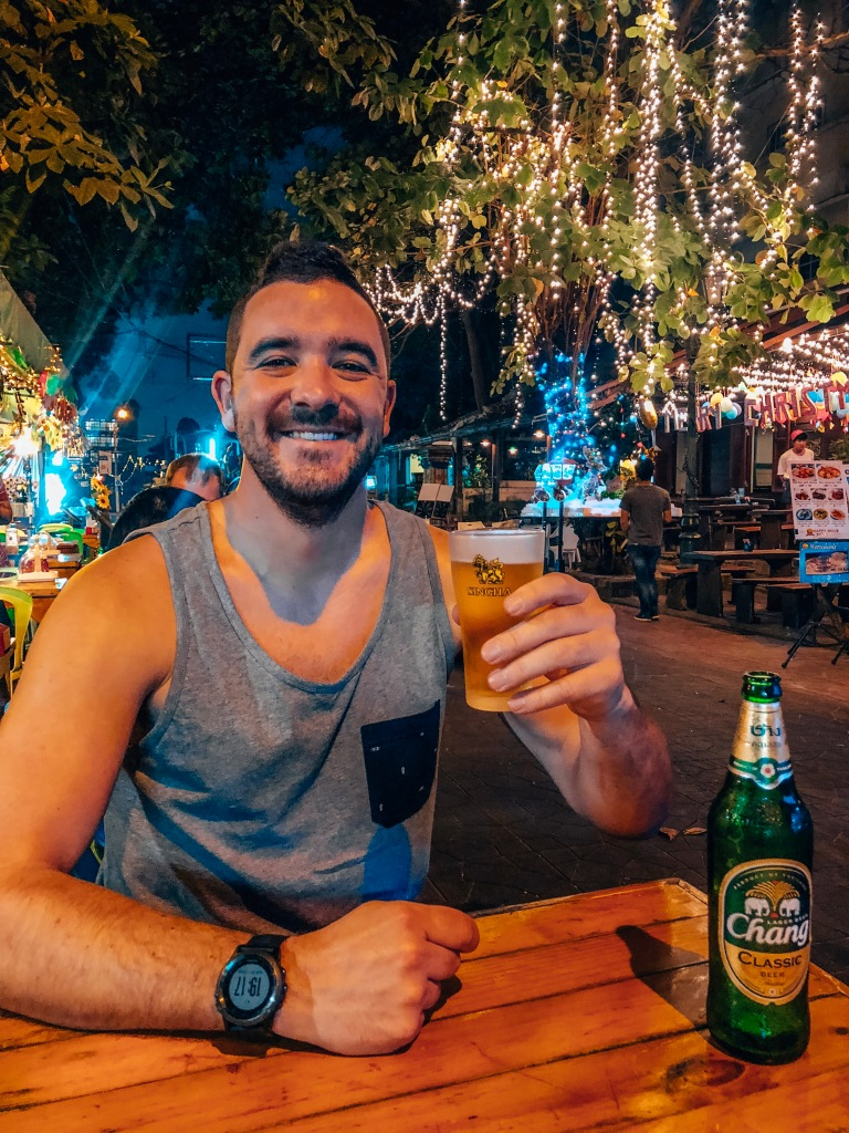 Enjoying a Chang in Bangkoks street bars